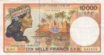 French Pacific Territories 10000 Francs Tahitian girl - 2010 - P.4b - VF - Serial B.002