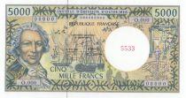 French Pacific Territories 5000 Francs Bougainville - Trois-mâts - Spécimen - 1985