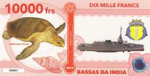 French Southern Territories 10000 Francs Bassas da India, turtle, boat - 2018 - Fantaisy