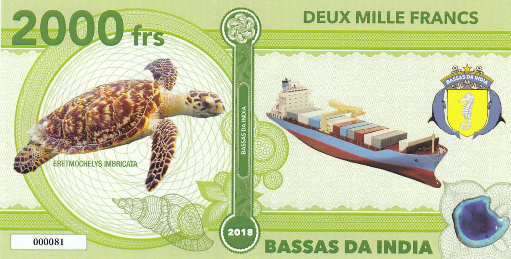 French Southern Territories 2000 Francs Bassas da India, turtle, cargo - 2018 - Fantaisy