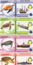French Southern Territories Set of 4 banknotes Bassas da India , Turtles, boats - 2018 - Fantaisy