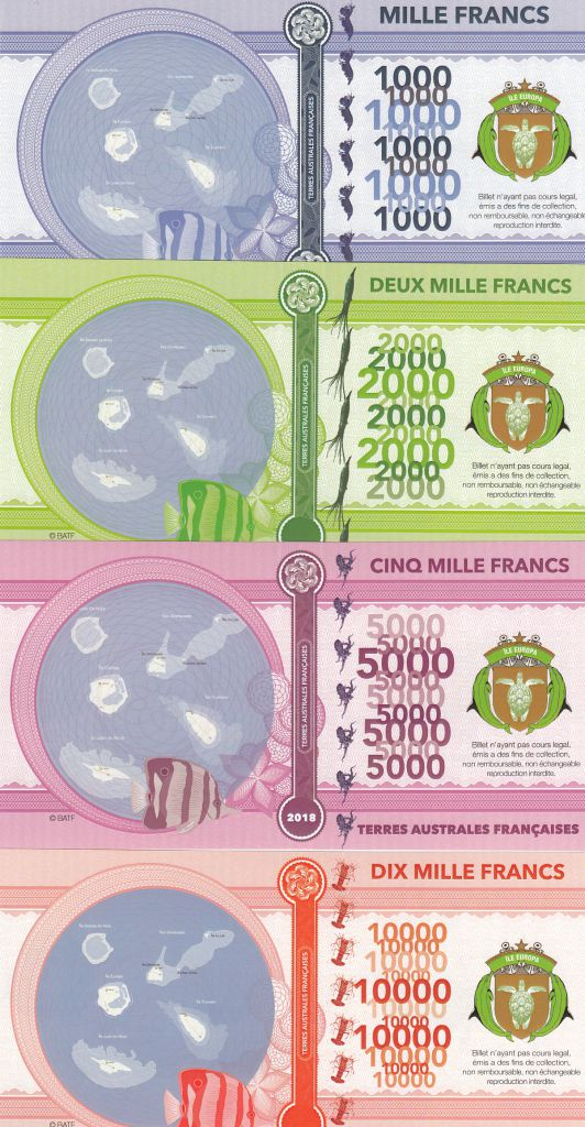French Southern Territories Set of 4 banknotes Europa Island, shellfish, boats - 2018 - Fantaisy