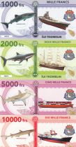 French Southern Territories Set of 4 banknotes Tromelin island, Squale, boat - 2018 - Fantaisy
