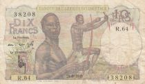 French West Africa 10 Francs 1949 - Hunters - Serial R.64
