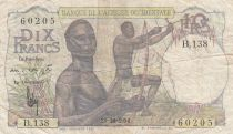 French West Africa 10 Francs 1954 - Hunters - Serial B.138