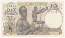 French West Africa 10 Francs Hunters - 21-11-1953 Serial Y.110 - P.37