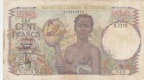 French West Africa 100 Francs 1947 - Woman with fruits, family - Serial S.2278