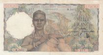 French West Africa 1000 Francs 1951 - Woman with jars, Deers, Village scene