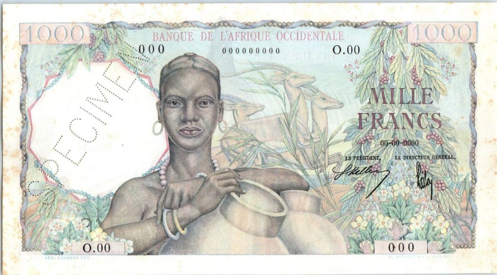 French West Africa 1000 Francs Woman, jugs - 1948 - Specimen