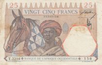 French West Africa 25 Francs  09-01-1942 - Serial T.2210 - VF - P.27