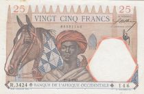 French West Africa 25 Francs 1942 - Man and Horse, Lion - Red numerals - Serial R.3424