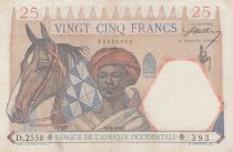French West Africa 25 Francs 1942 - Man and horse, Lion - Red numerals