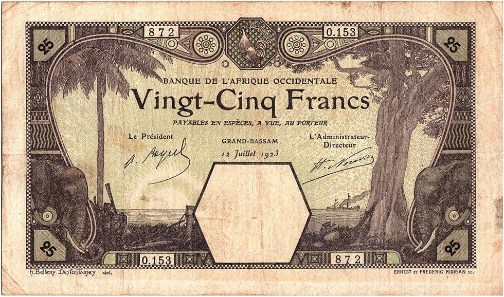French West Africa 25 Francs Grand-Bassam - Elephant - 1923