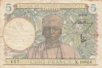 French West Africa 5 Francs - 15-06-1942 - SerialX.10064 - VF - P.25