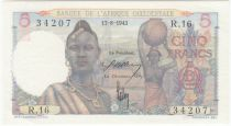 French West Africa 5 Francs - 17-08-1943 Serial R.16 - P.36