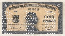 French West Africa 5 Francs - 1942 Serial AM - Specimen - XF - P.28