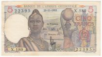 French West Africa 5 Francs - 21-11-1953 Serial X.180 - P.36