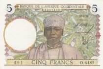 French West Africa 5 Francs - 27-04-1939 - Serial O.6485 - P.21 aUNC