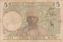 French West Africa 5 Francs 1935 - Man, Weaver - Serial H.1160