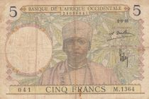 French West Africa 5 Francs 1935 - Man, Weaver - Serial M.1364