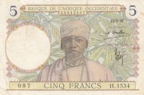 French West Africa 5 Francs 1936 - Man, Weaver - Serial H.1534