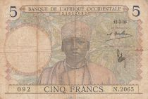 French West Africa 5 Francs 1936 - Man, Weaver - Serial N.2065