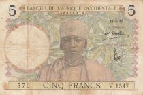 French West Africa 5 Francs 1936 - Man, Weaver - Serial V.1547