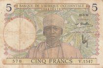 French West Africa 5 Francs 1936 - Man, Weaver - Serial V.1547