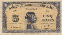 French West Africa 5 Francs 1942 - Woman\'s head - Serial AY - VF