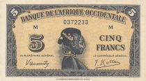 French West Africa 5 Francs 1942 - Woman\'s head - Serial M