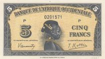 French West Africa 5 Francs 1942 - Woman\'s head - Serial P