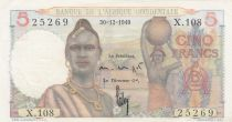 French West Africa 5 Francs 1949 - Young woman, woman with water jar, fishermen