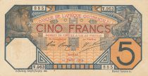 French West Africa 5 Francs Lion - Dakar 10-07-1919 Serial V.963