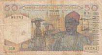 French West Africa 50 Francs 1955 - Old man, bananas plantation - Serial H.6