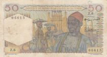 French West Africa 50 Francs 1955 - Old man, bananas plantation - Serial H.6