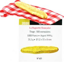 Gabon 1000 Francs French Baguette - 2020 - Silver Once gilded with fin gold