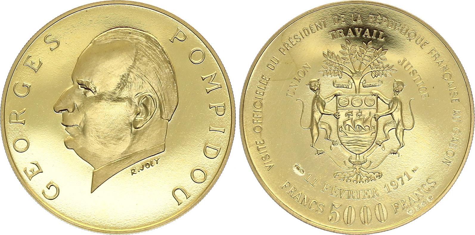 Gabon 5000 Francs Georges Pompidou - 1971 - Or - SPL