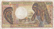 Gabon 5000 Francs masque, jeune femme - ND1991 Série L.001