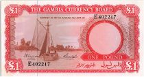Gambia 1 Pound 1965 - Sailboat - Dock