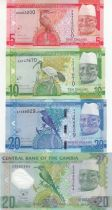 Gambia Set of 4 notes of Gambia -  5 to 20 Dalasis - 2015