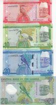 Gambie Lot de 4 billets de Gambie - 5 à 20 Dalasis - 2015