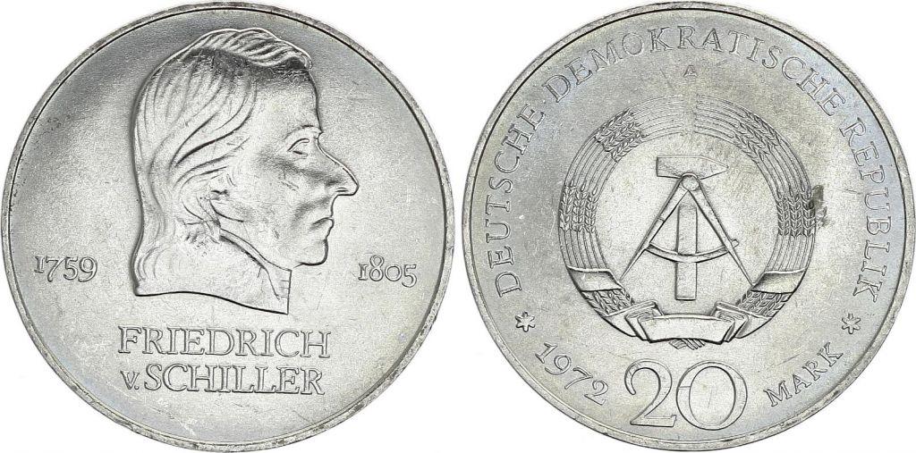Germany (DDR) 20 Mark - Friedrich Von Schiller - 1972 -  VF to XF - P.40