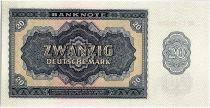 Germany (DDR) 20 Mark Dark Bleu and Tan - 1955