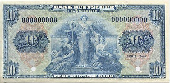 Germany (Federal Republic of) 10 Deutsche Mark Mark, Allegorical figures
