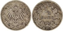 Germany 1/2 Mark 1906F - Crowned Eagle, silver