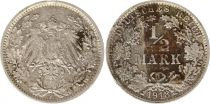 Germany 1/2 Mark 1918F - Crowned Eagle, silver