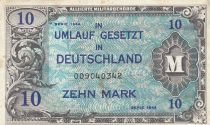 Germany 10 Mark AMC, blue on lt blue - 1944 9 digit 009040342 with F