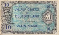 Germany 10 Mark AMC, blue on lt blue - 1944 9 digit 019396597 with F