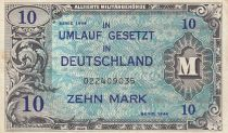 Germany 10 Mark AMC, blue on lt blue - 1944 9 digit 022409035 with F