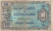 Germany 10 Mark AMC, blue on lt blue - 1944 9 digit 069211526 with F